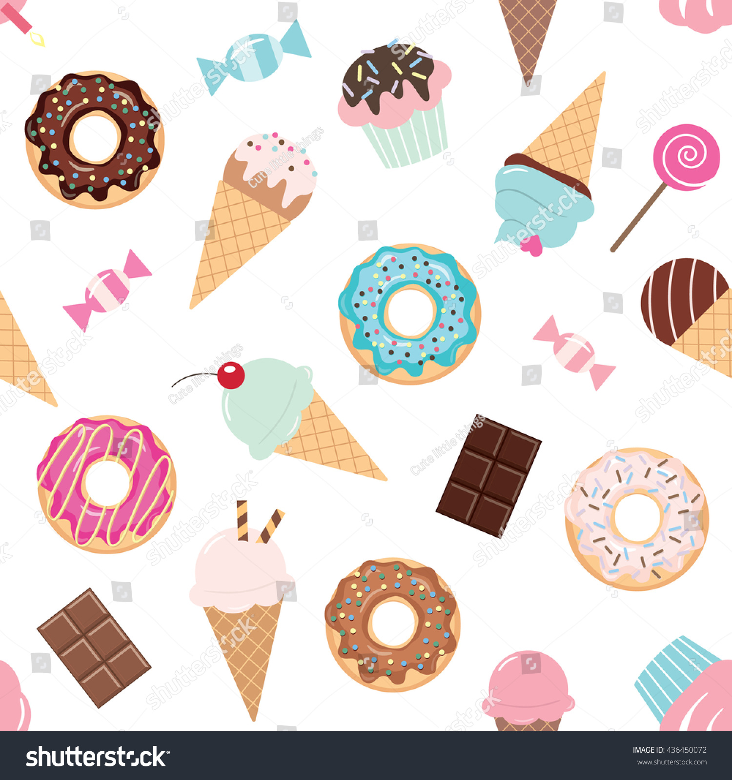 Sweet Ice Cream Flat Colorful Seamless Pattern Vector: Birthday Seamless Pattern Sweets Ice Cream Stock Vector