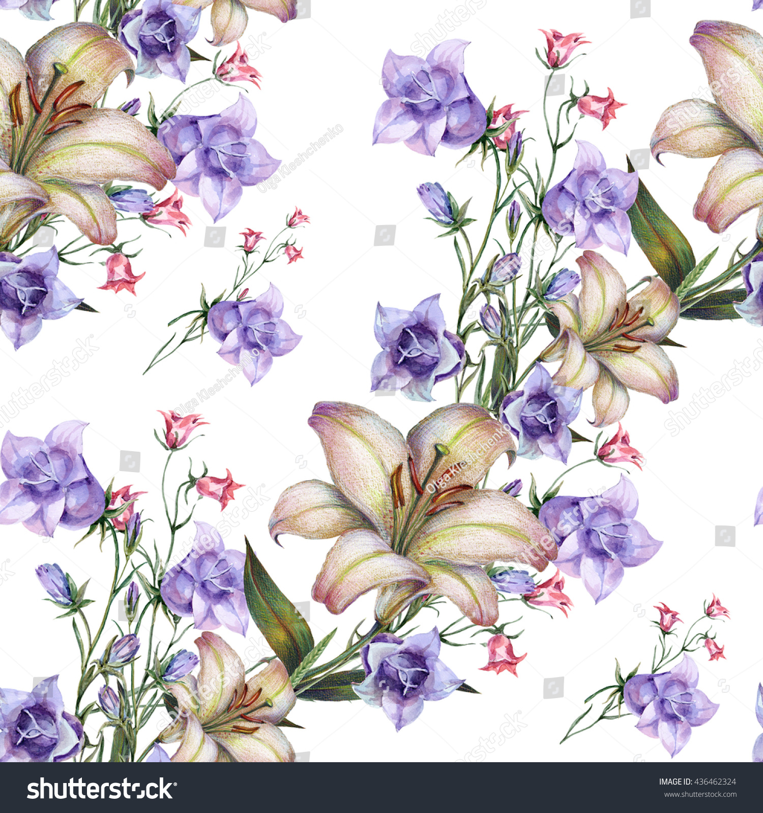 Watercolor Bouquet White Lily Bell Flowers Stock Illustration