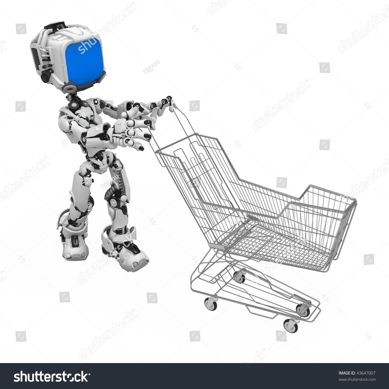 Small 3 D Robotic Figure Wire Shopping Stock Illustration 43647007 ...