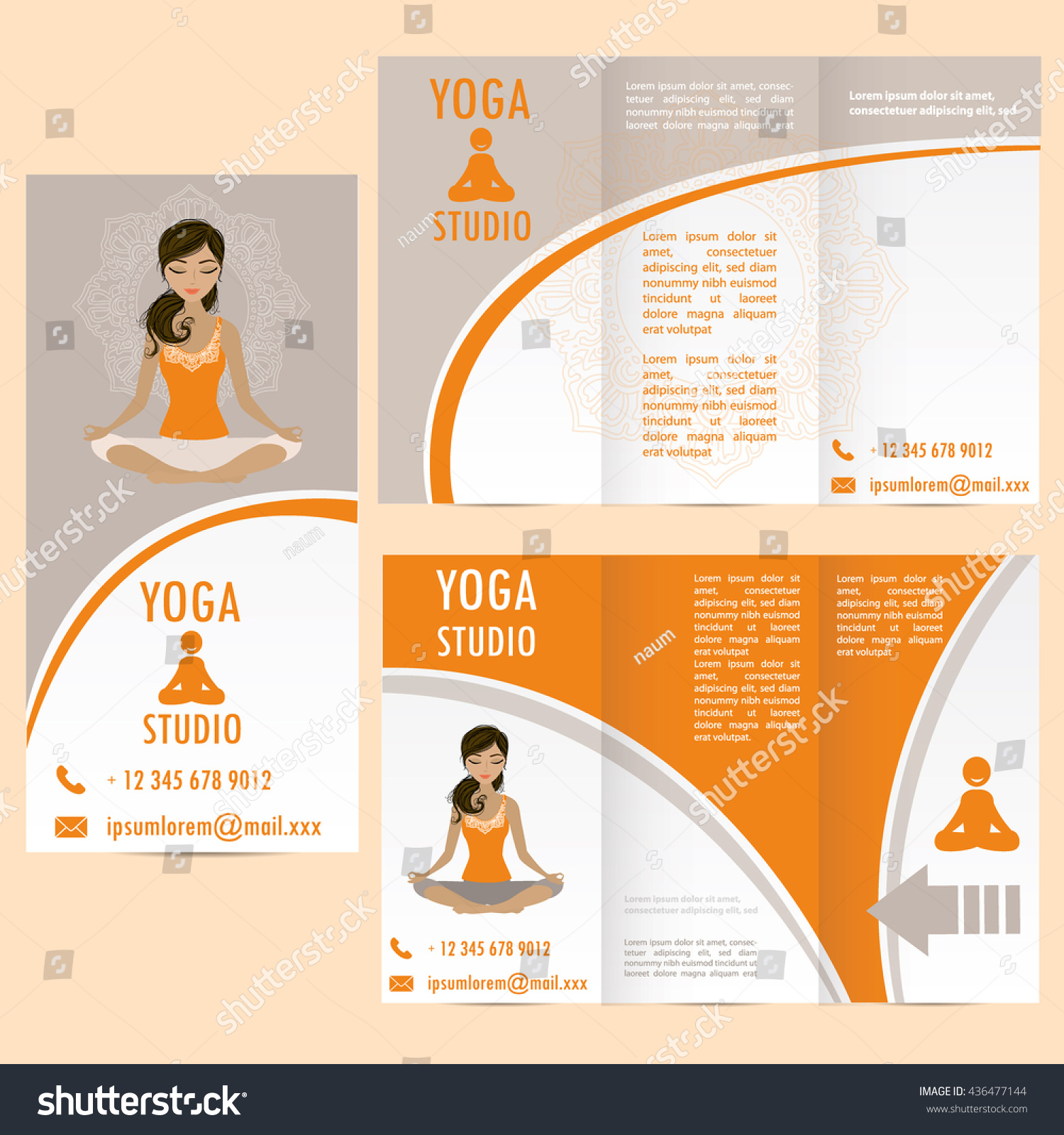 Cards Woman Yoga Studio Paisley Ornament Stock Vector Royalty Free