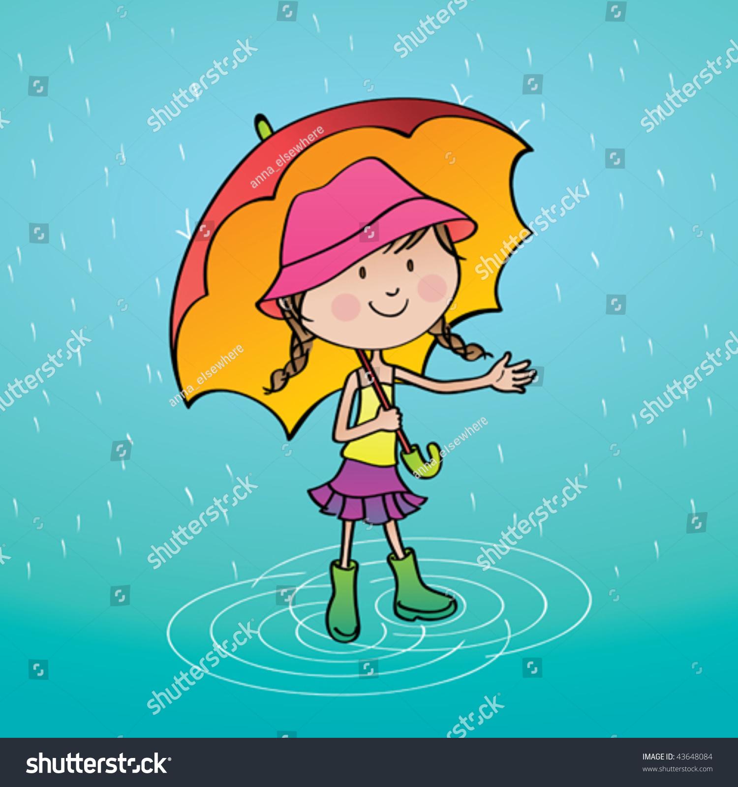 Cute Rainy Day: Summer Rainy Day Vector Illustration Cute Stock Vector