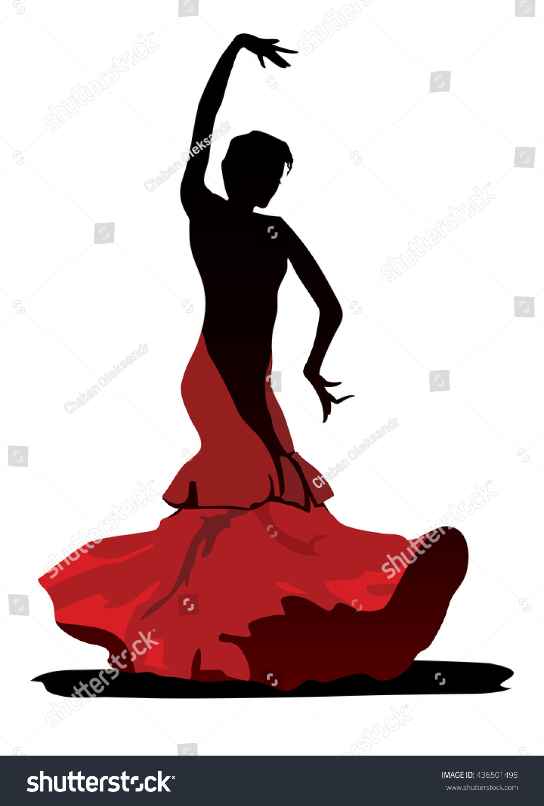 stylized image flamenco dancer on white stock illustration