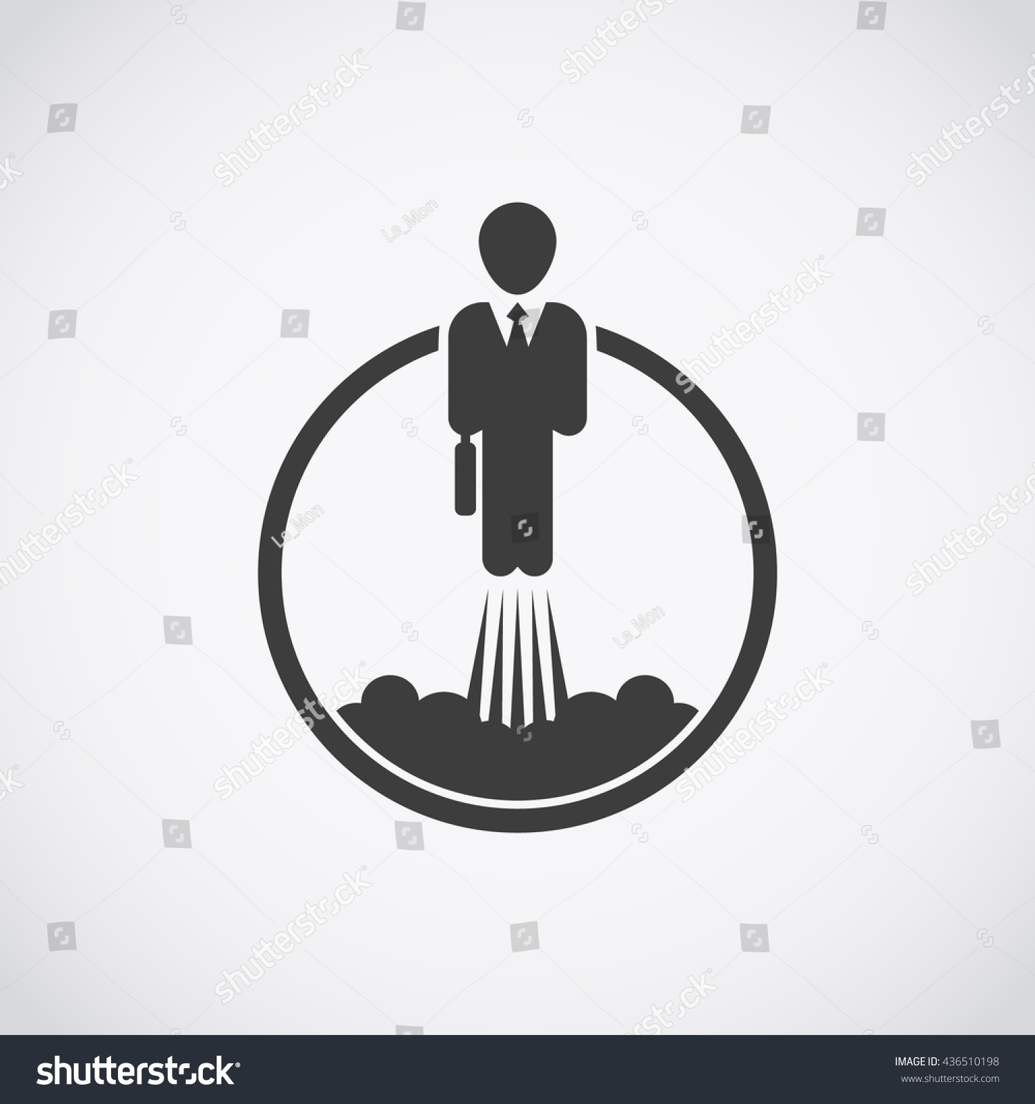 career development icon businessman takes off stock vector career development icon businessman takes off like a rocket
