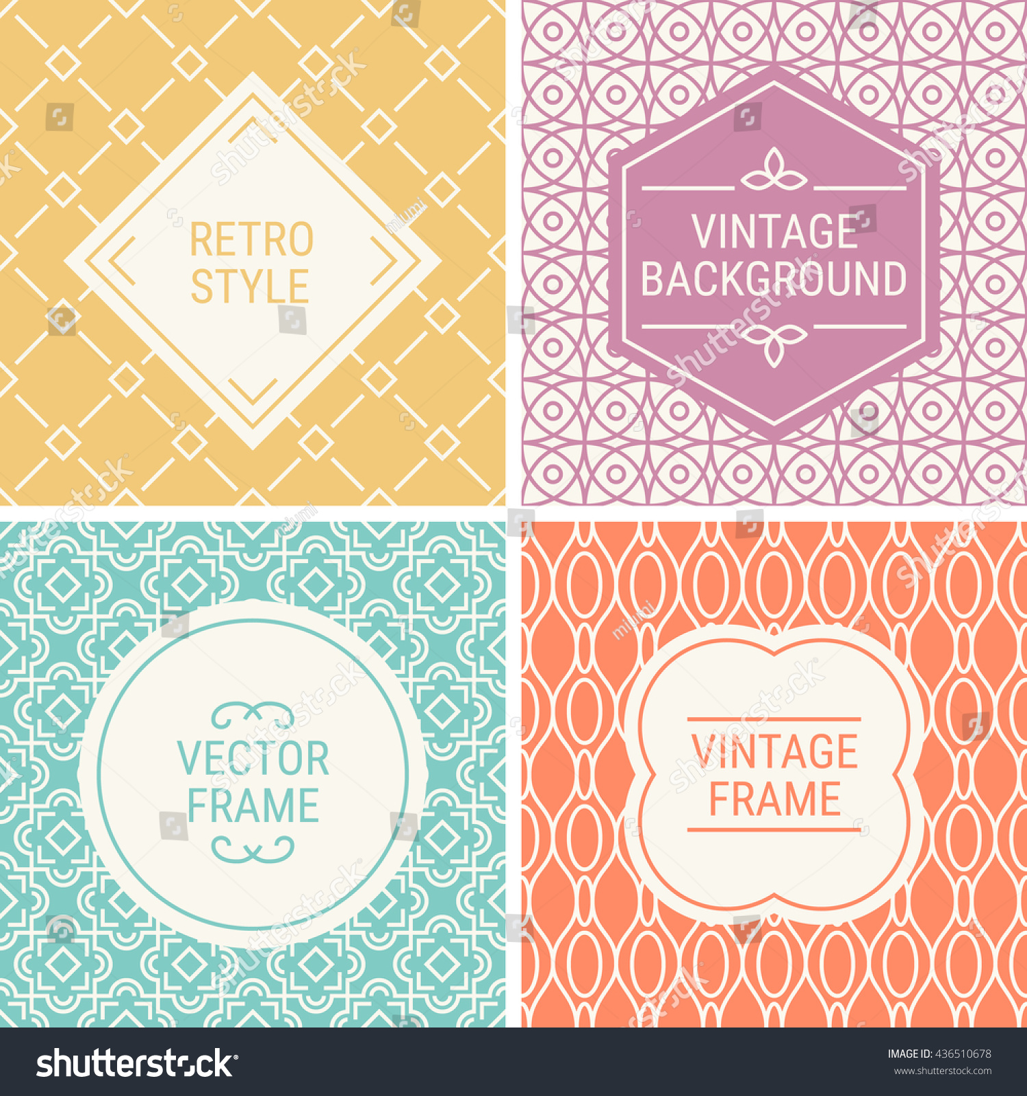 Set of vintage frames in Yellow Pink Cyan Orange and Beige on mono line seamless background Perfect for greeting cards wedding invitations retro parties Vector labels and badges