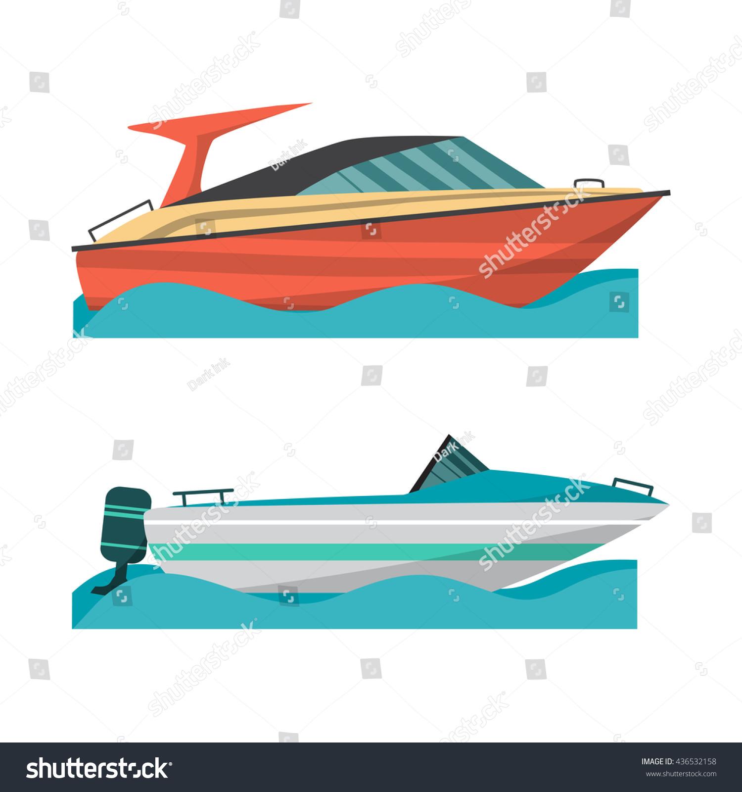 Cartoon Outboard Motors : Set motor boat small outboard stock vector