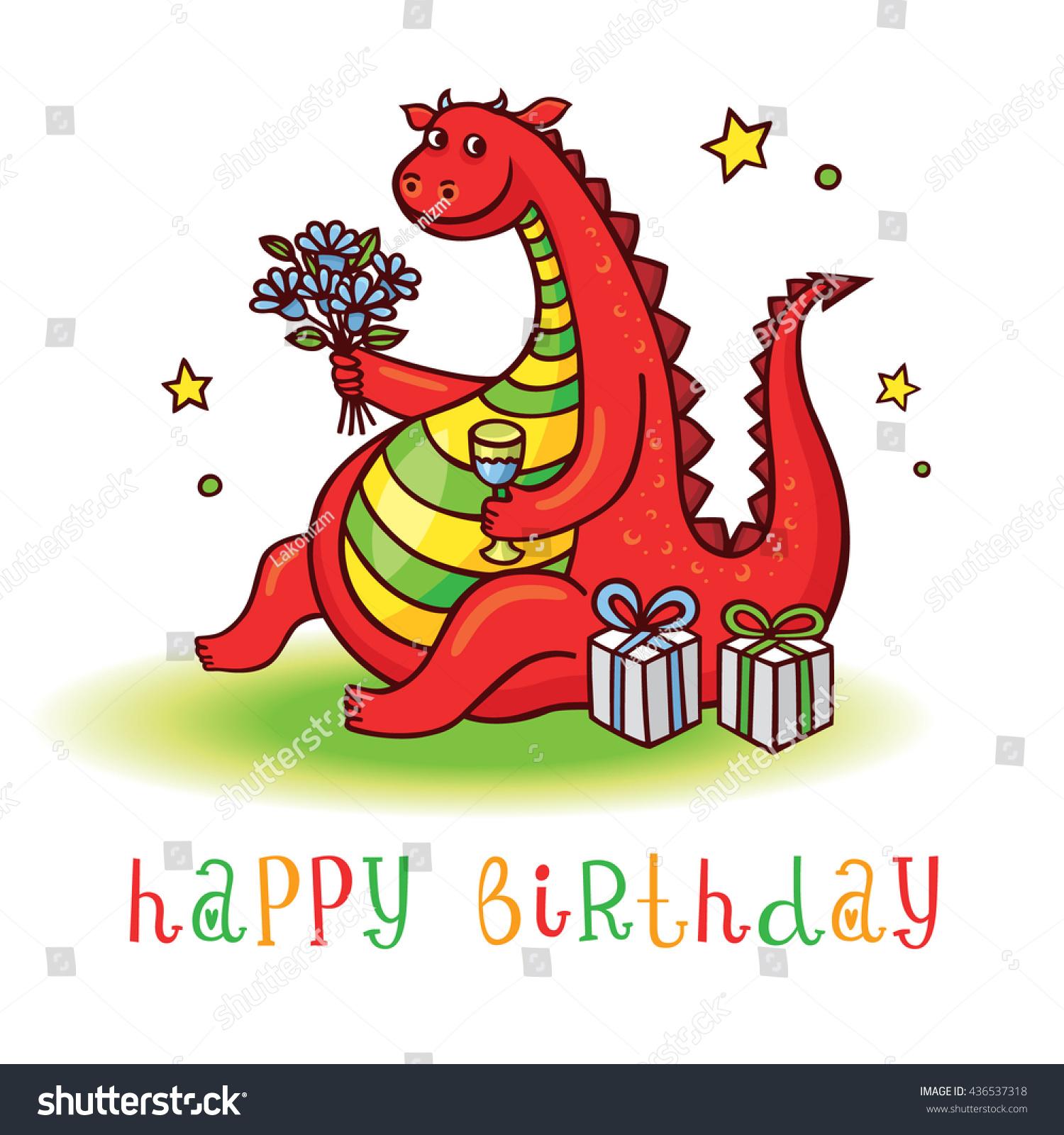 Dragon Playful Card Funny Dragon Birthday Stock Vector 436537318 ...