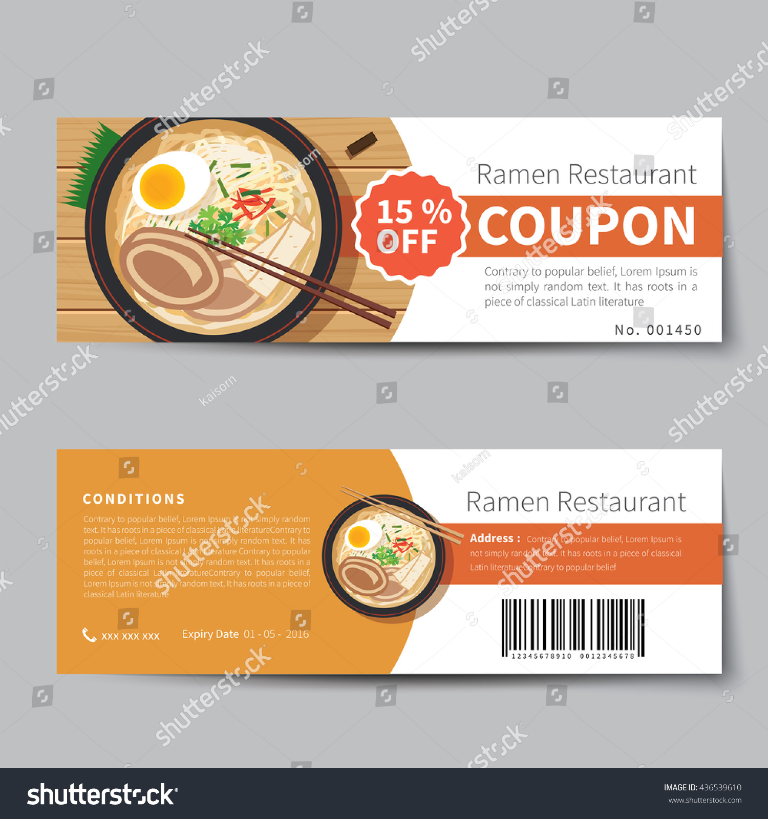 Japanese Food Coupon Discount Template Flat Stock Vector HD (Royalty ...