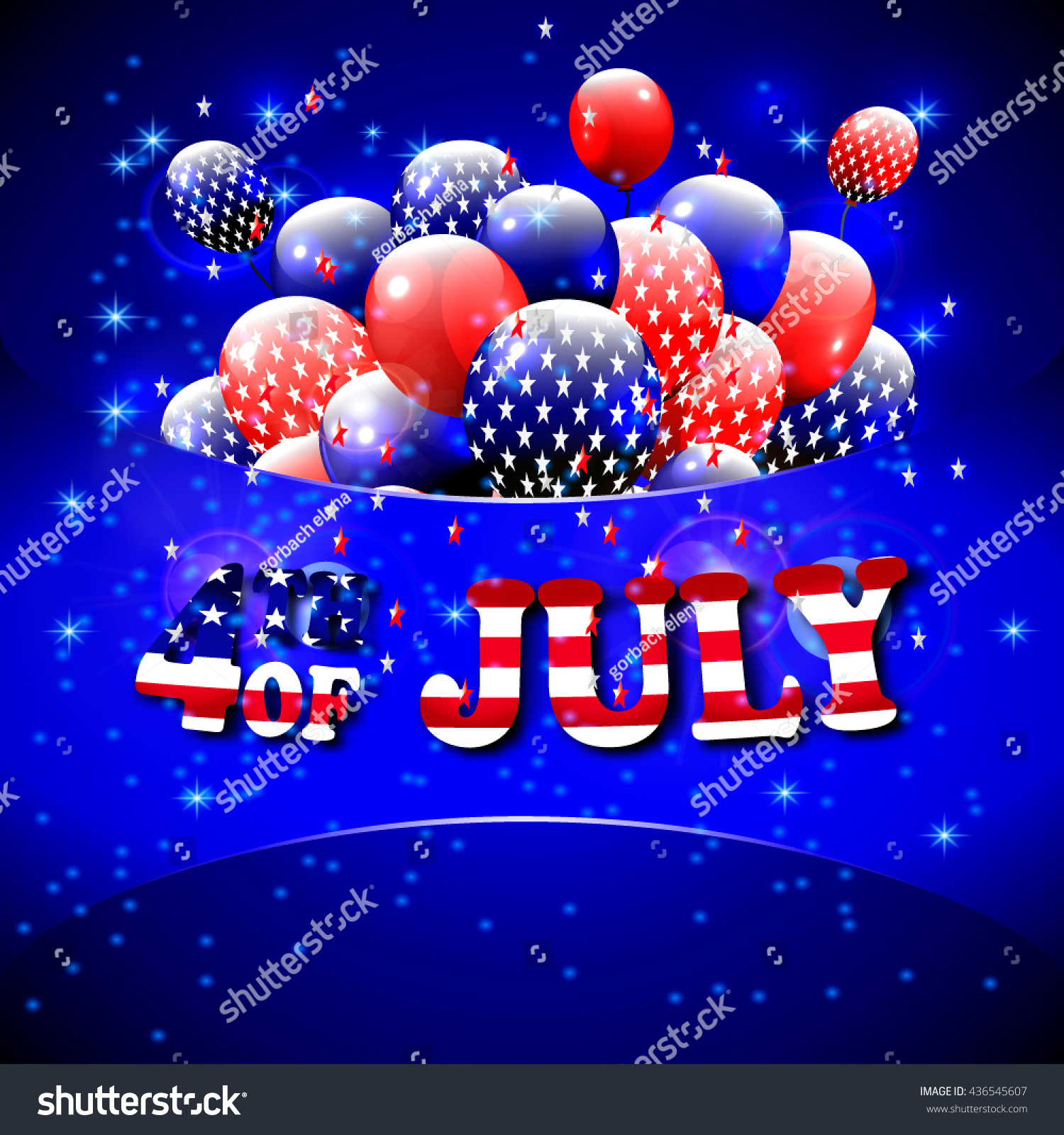 Happy 4th July Design Blue Background Stock Vector 436545607