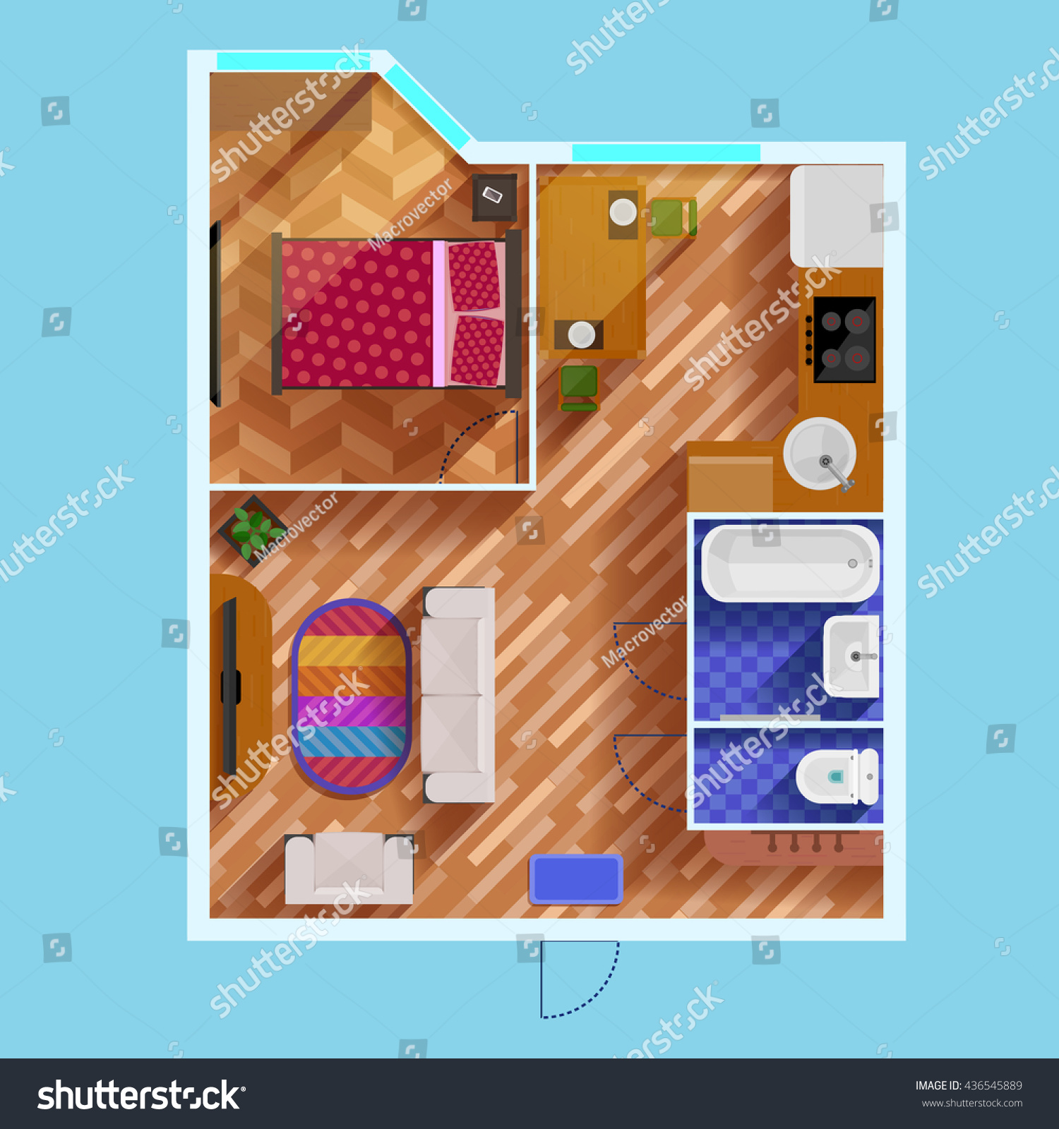 Colorful Floor Plan Apartment One Bedroom Stock Vector Royalty Free 436545889