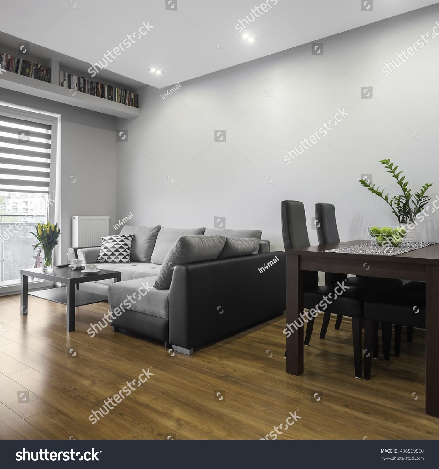 Simple Designed Modern Living Room Dining Stock Photo
