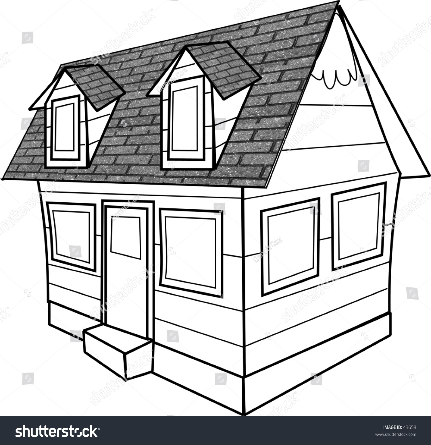 Simple Line Drawing Cottage Stock Illustration 43658
