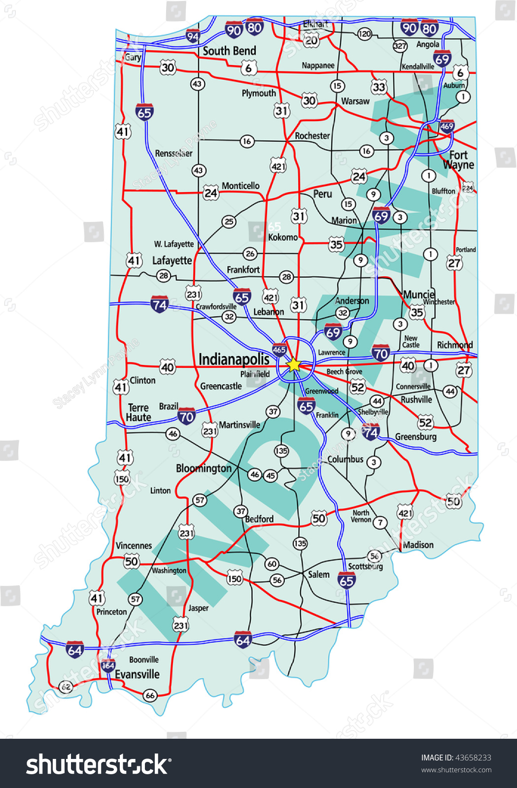 Indiana State Road Map Interstates Us Stock Vector - Indiana state on us map