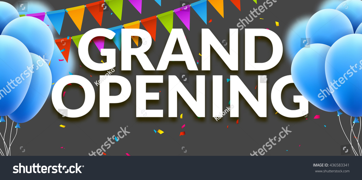Grand Opening Event Invitation Banner Balloons Stock Vector HD ...