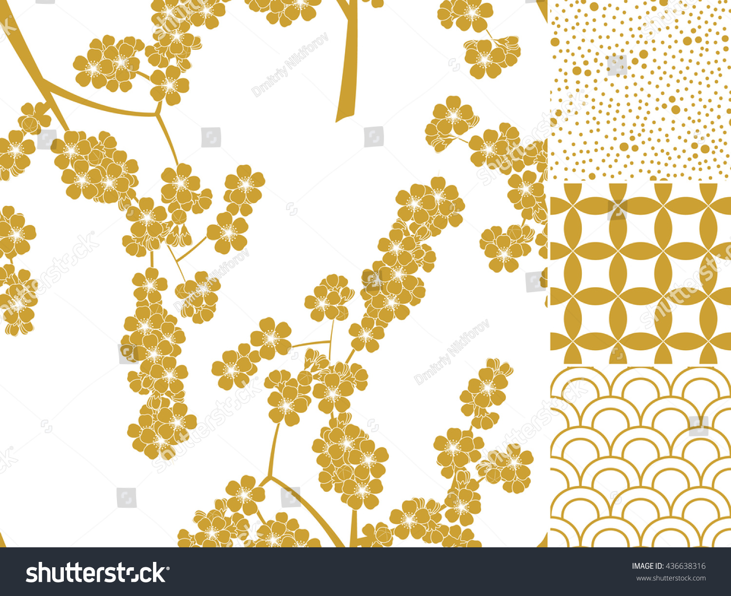 Japanese seamless pattern set with traditional ornaments Vector illustration