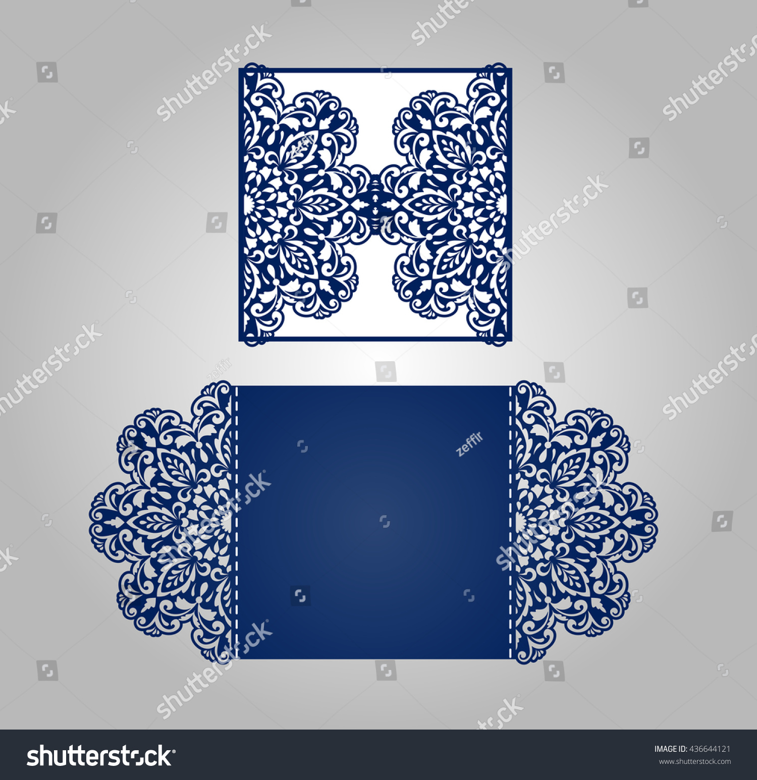 Cutout paper wedding invitation card ornamental stock vector cutout paper wedding invitation card with ornamental panels stopboris Images