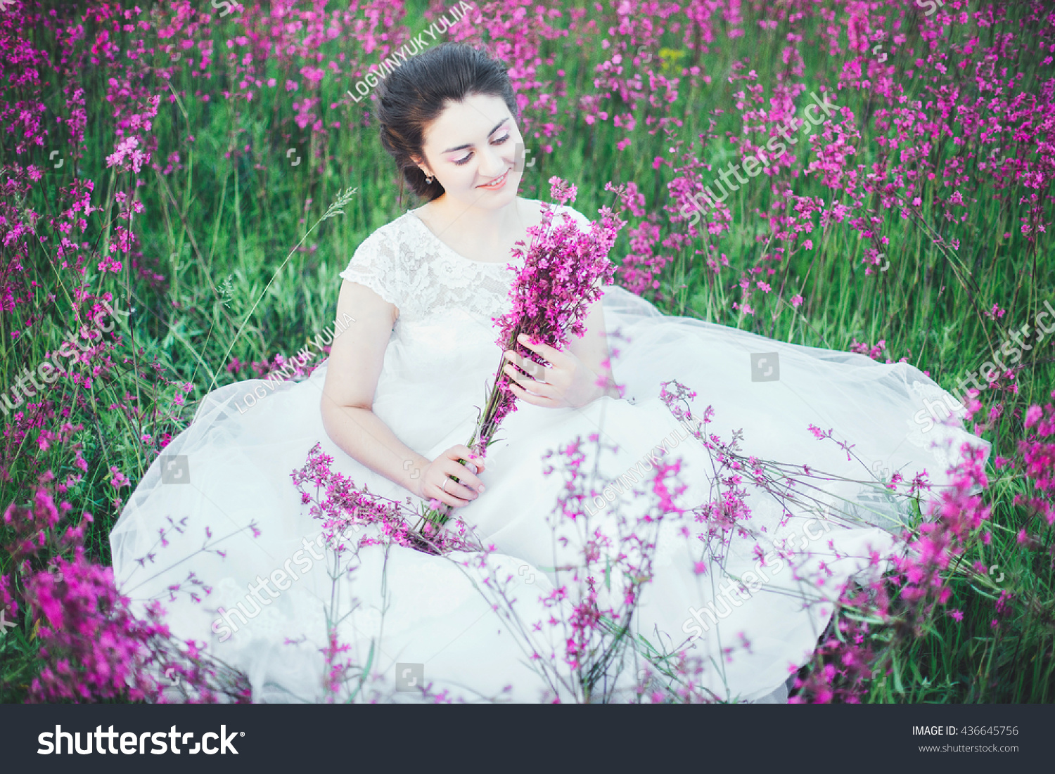 Beautiful Bride Flower Field Girl White Stock Photo Safe To Use