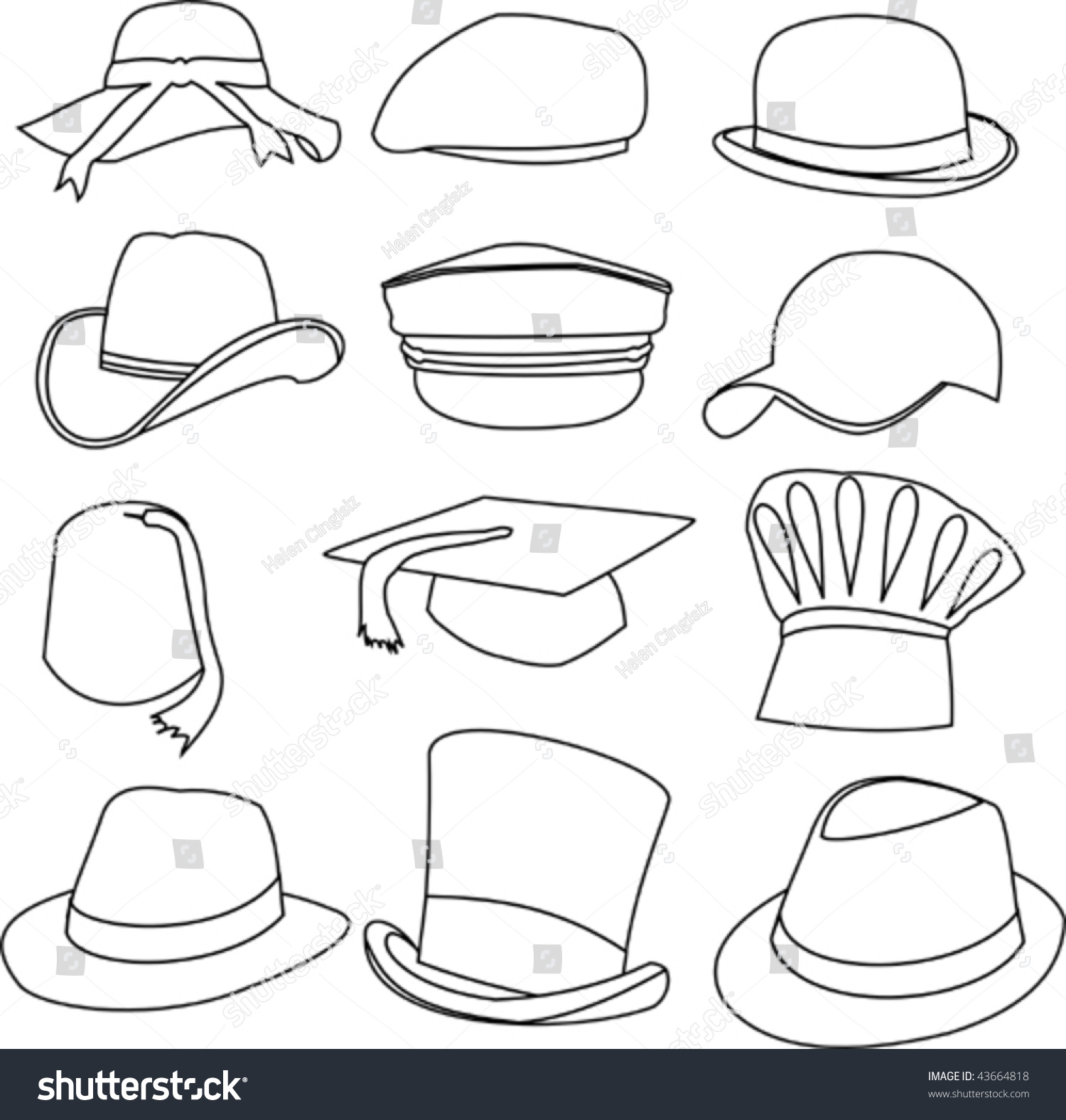 Line Drawing Hat : Lots hats line style drawing stock vector