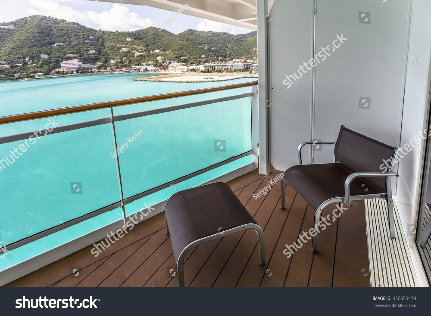 Balcony view on the cruise ship stock photo 436655479 for Balcony in cruise ship