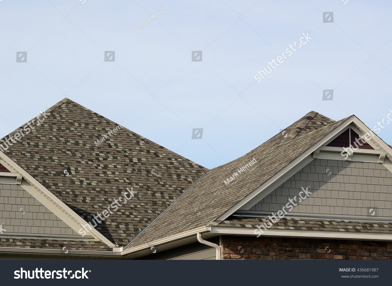 Asphalt shingles on hip roof gable stock photo 436681987 for Hip or gable roof