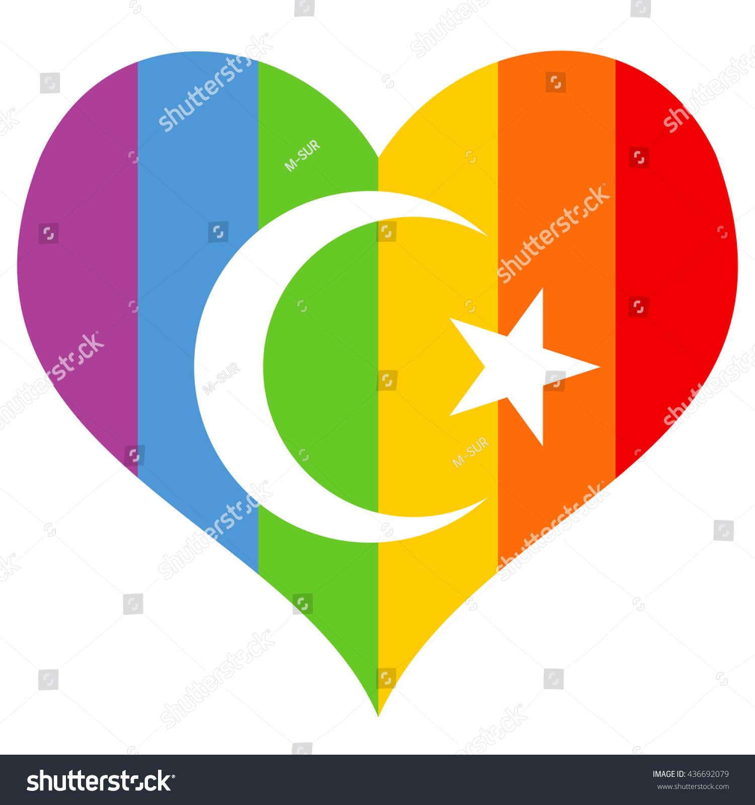 Rainbow heart symbol homosexuals homosexuality crescent stock rainbow heart as symbol of homosexuals and homosexuality and crescent and star of islam tolerance buycottarizona
