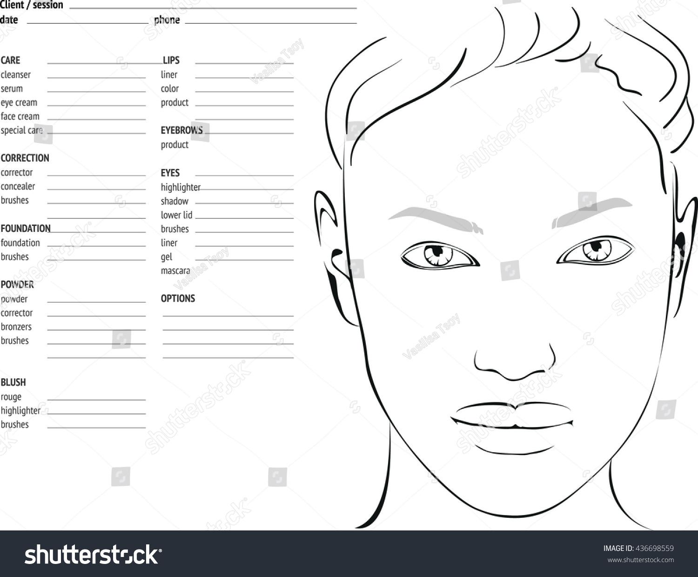 makeup chart template: Face chart makeup artist blank template stock vector 436698559
