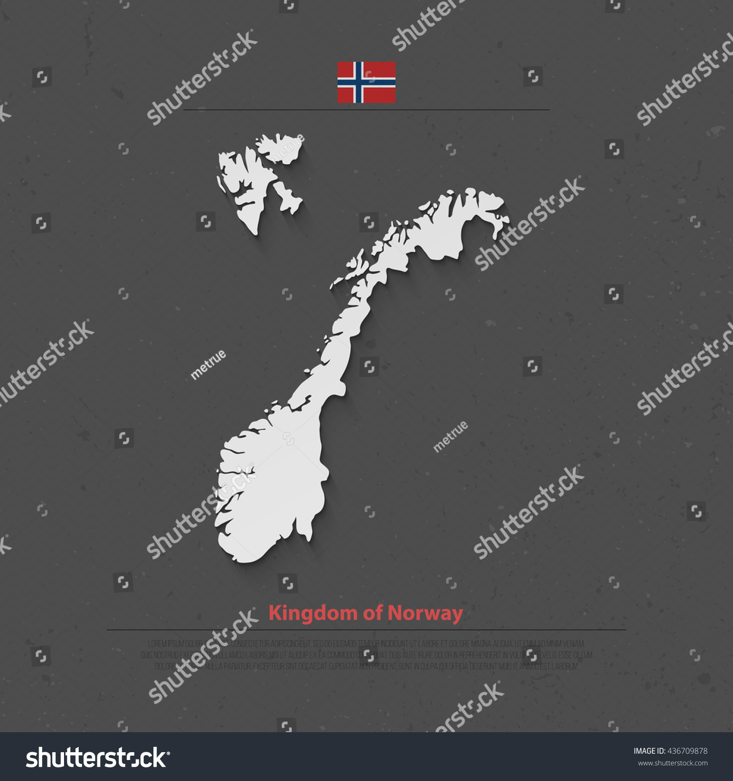 Kingdom Norway Isolated Map Official Flag Stock Vector - Norway map vector countries