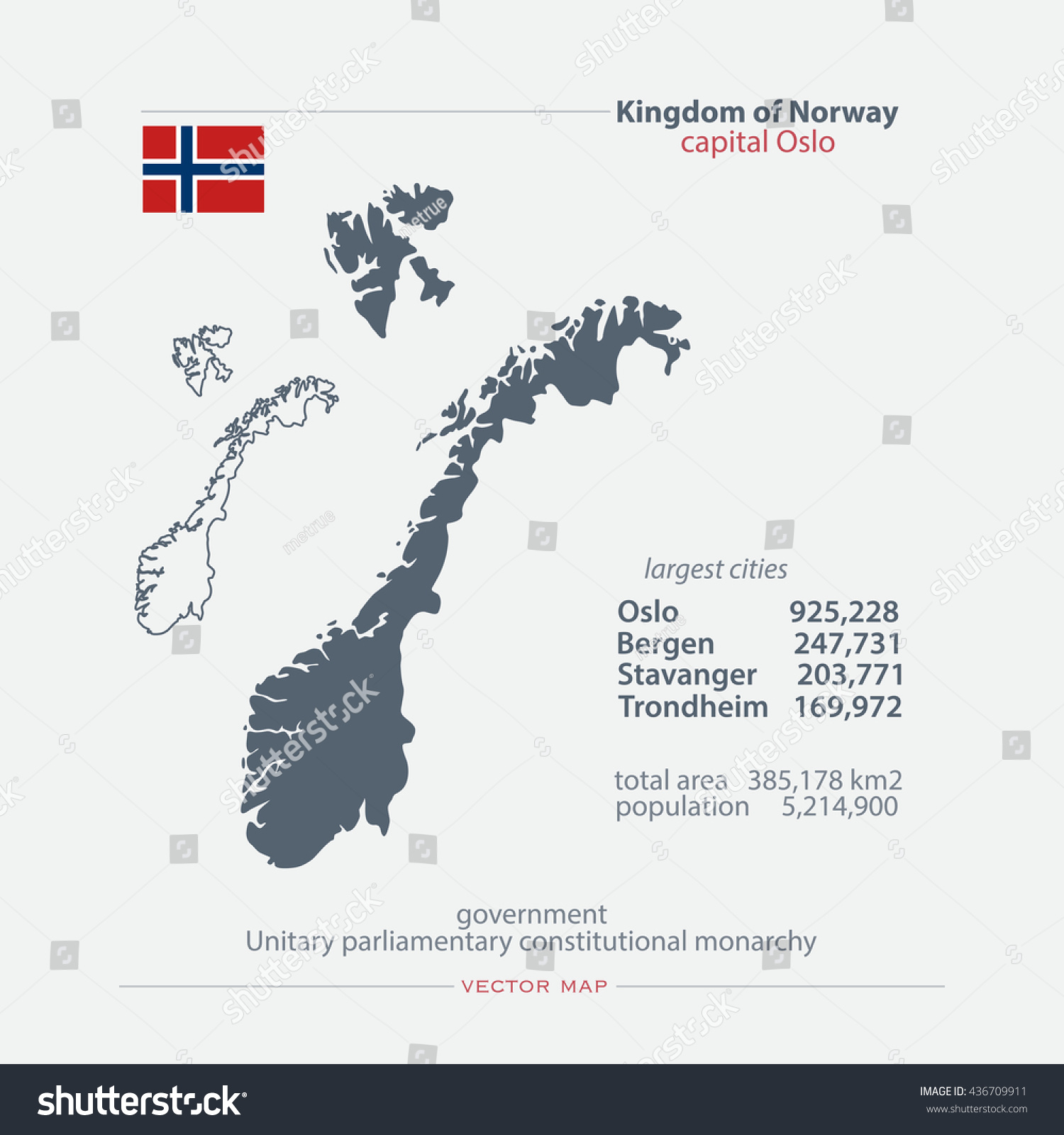 Kingdom Norway Isolated Maps Official Flag Stock Vector - Norway map vector countries