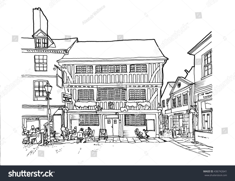Handdrawn illustration pubrestaurant newarkontrent england uk a hand drawn illustration of a pubrestaurant in newark on trent malvernweather Gallery