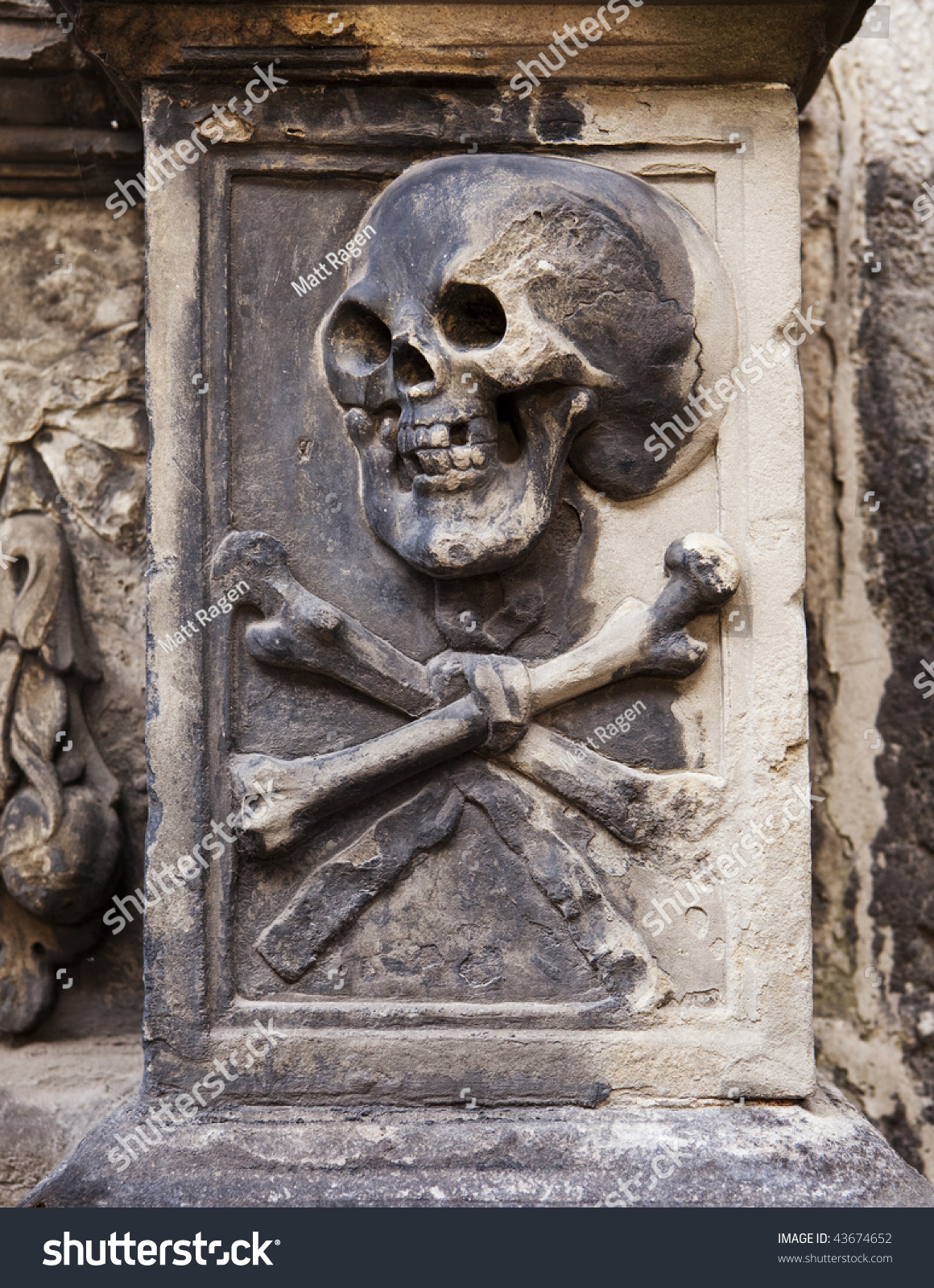 A grisly image of death grimacing with skull and