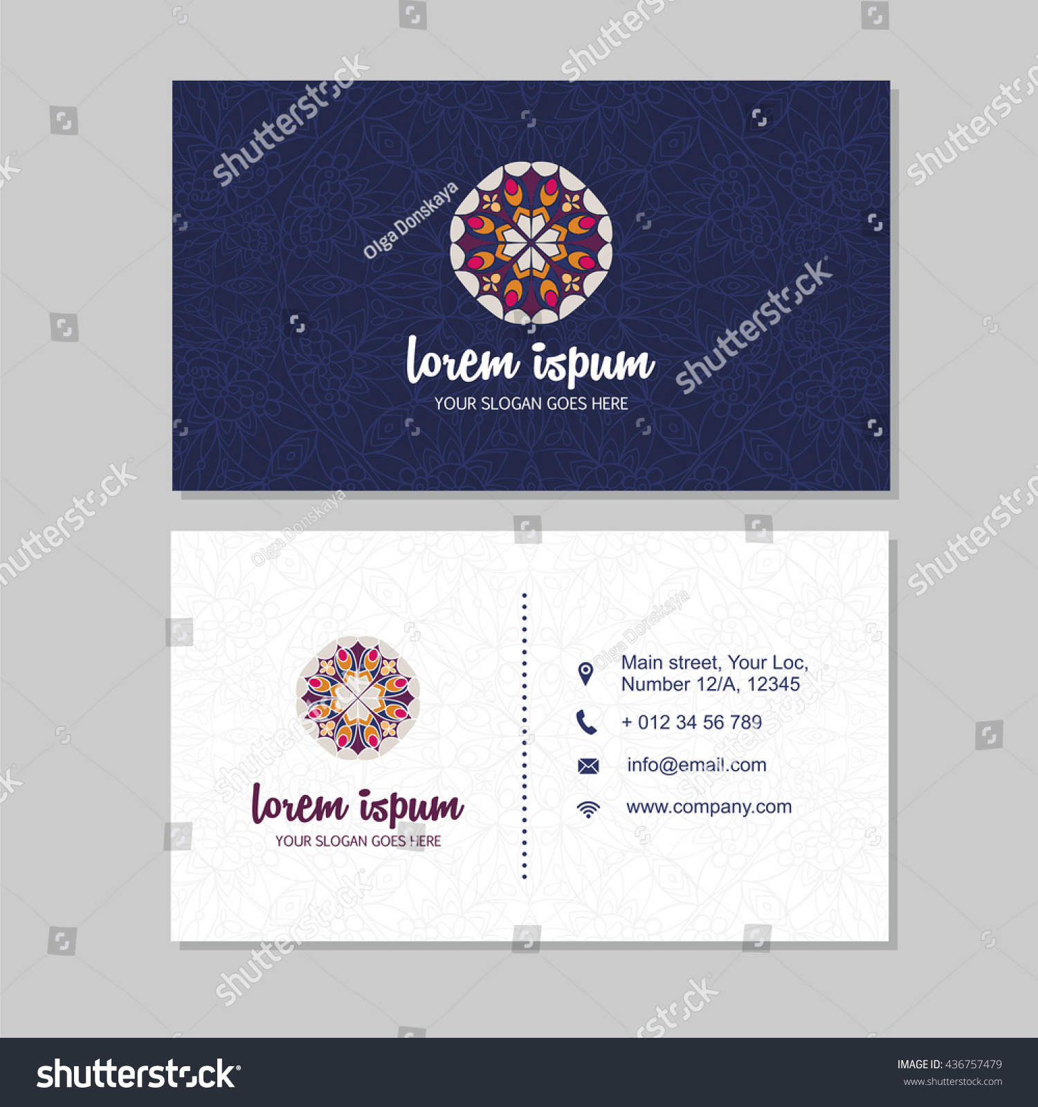 Visiting Card Business Card Set Mandala Stock Vector 436757479 ...