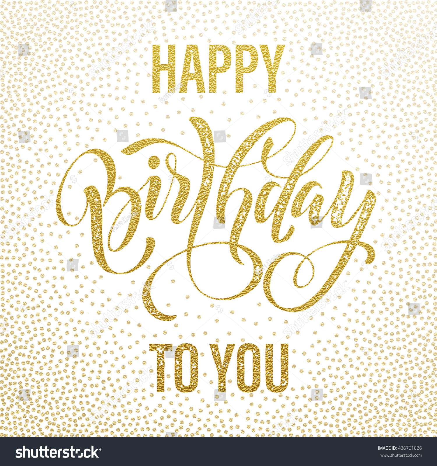 happy birthday you lettering gold frame stock vector birthday postcard happy birthday you gold stock vector 146
