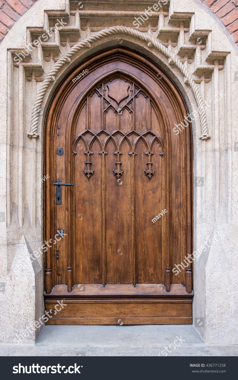 renovated old door gothic wooden doors stone portal with doors broken arch & Renovated Old Door Gothic Wooden Doors Stock Photo 436771258 ... Pezcame.Com