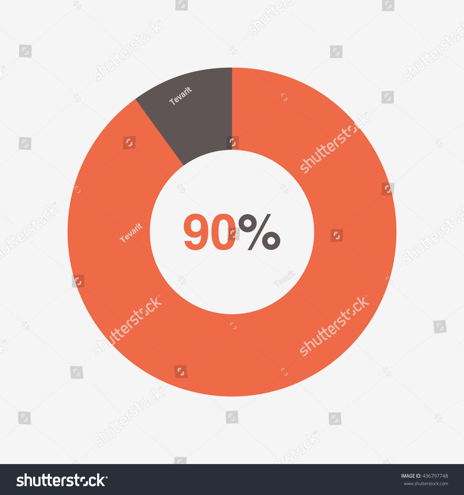 Icon Pie Orange Black Chart 90 Stock Vector Royalty Free 436797748