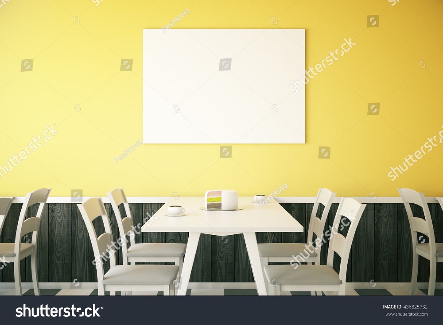 Cafe interior with cake on table and blank poster on bright yellow wall Mock up 3D Rendering