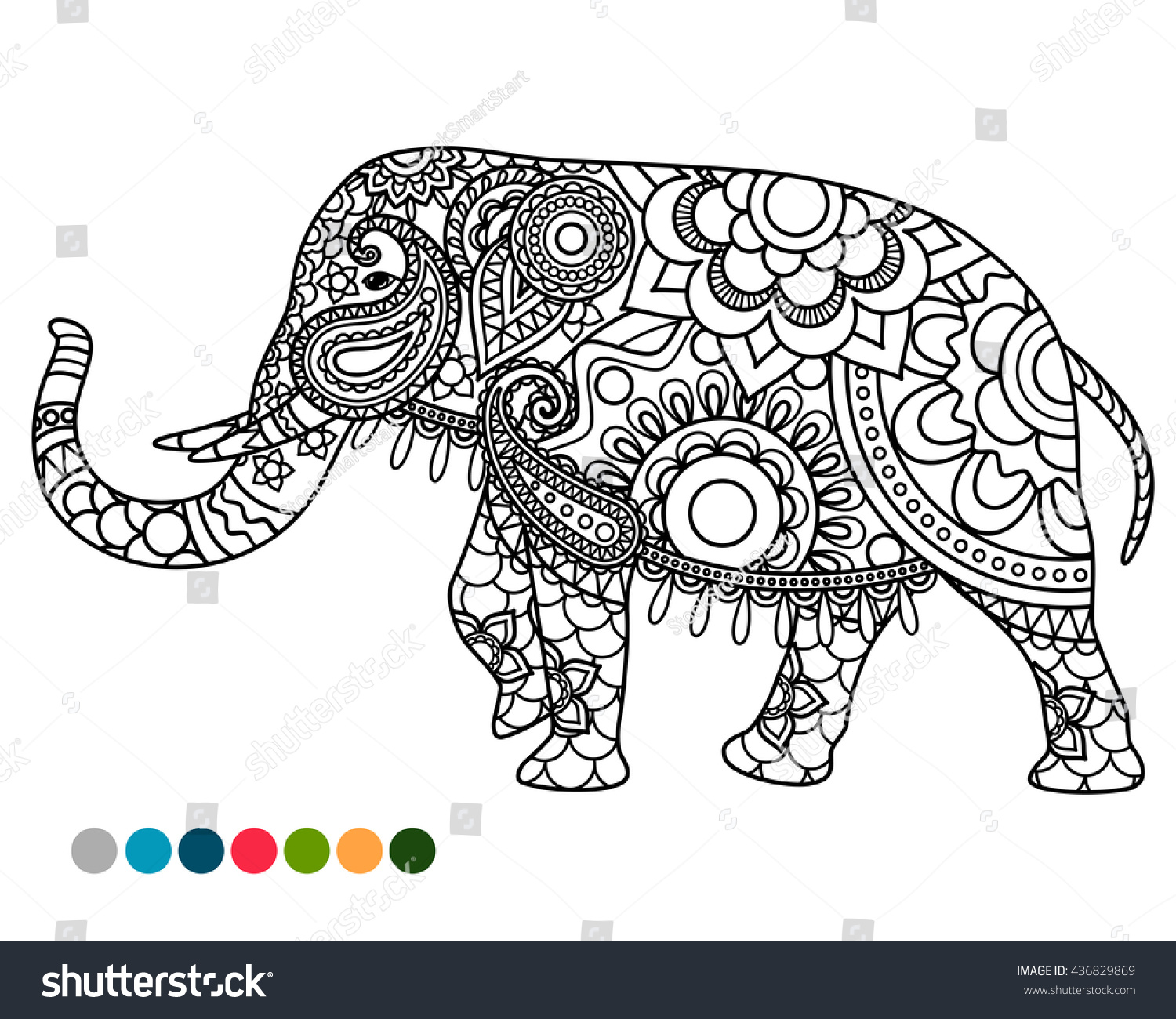 elephant decorated mandala ornament coloring page stock vector