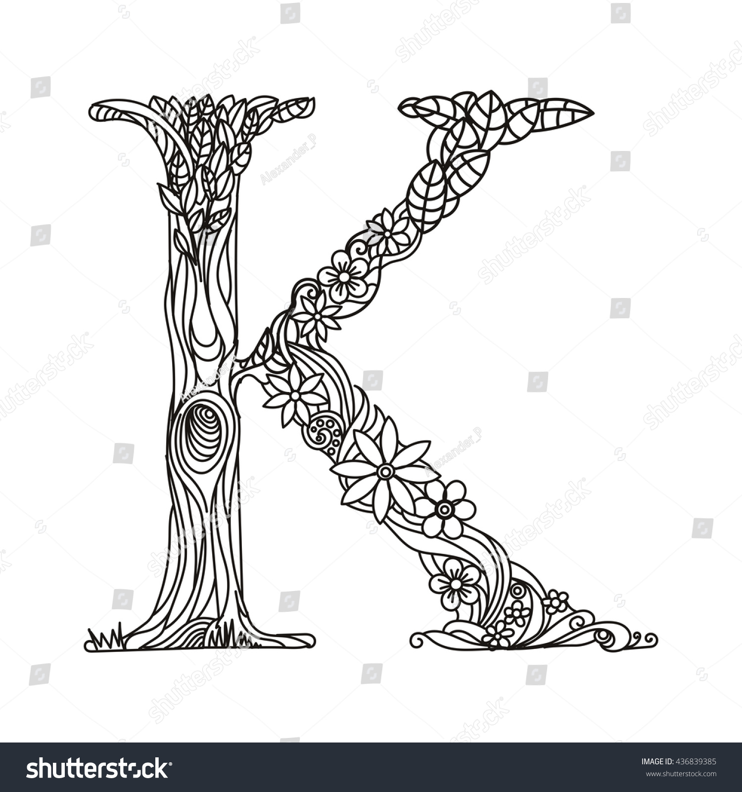 Floral Alphabet Letter Coloring Book Adults Stock Vector (2018 ...
