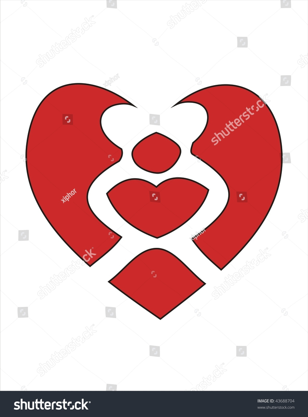 Two Lovers Kissing Red Heart Symbol Stock Vector Royalty Free