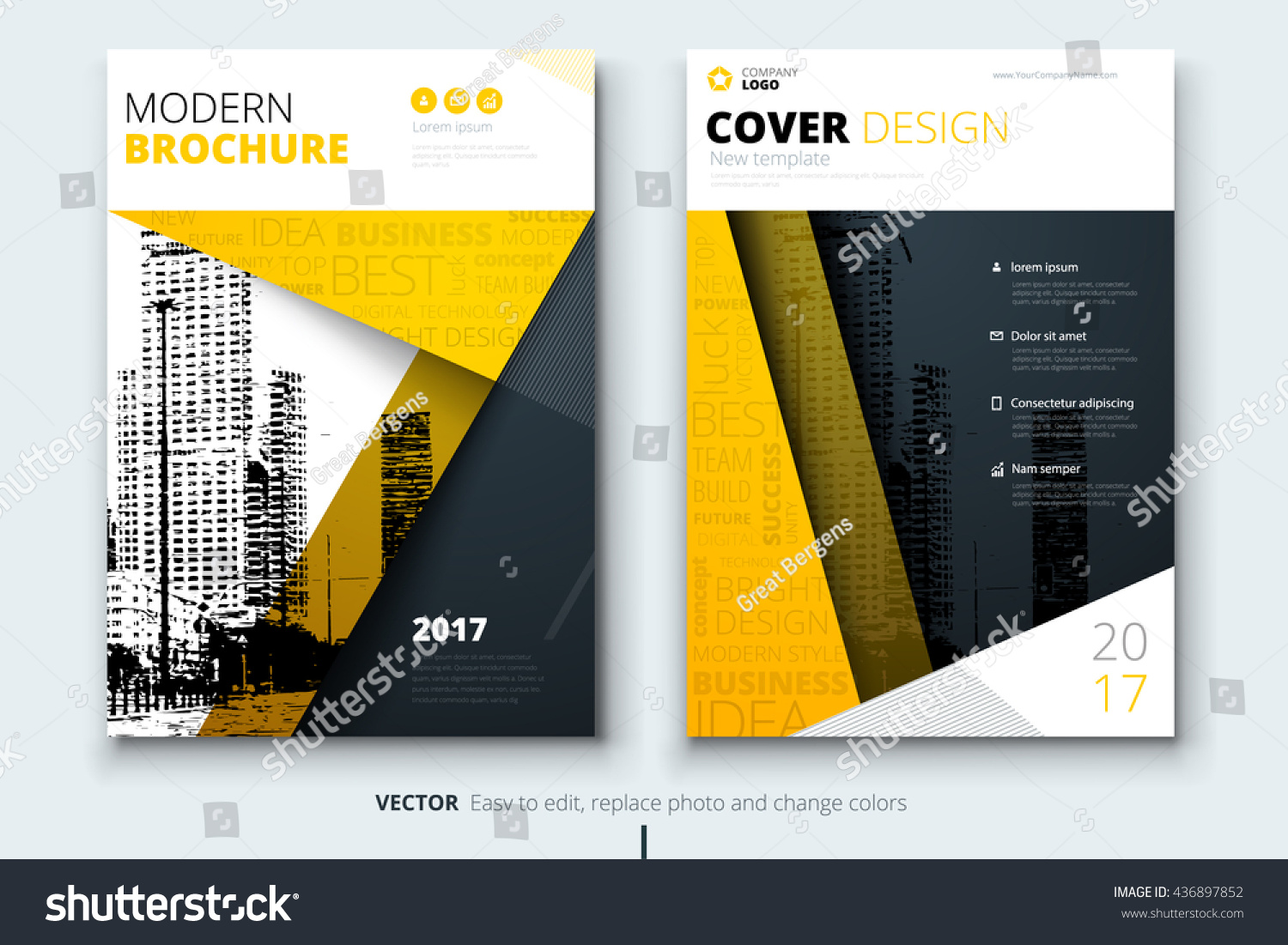 Yellow cover design brochure creative poster imagem for Brochure cover designs