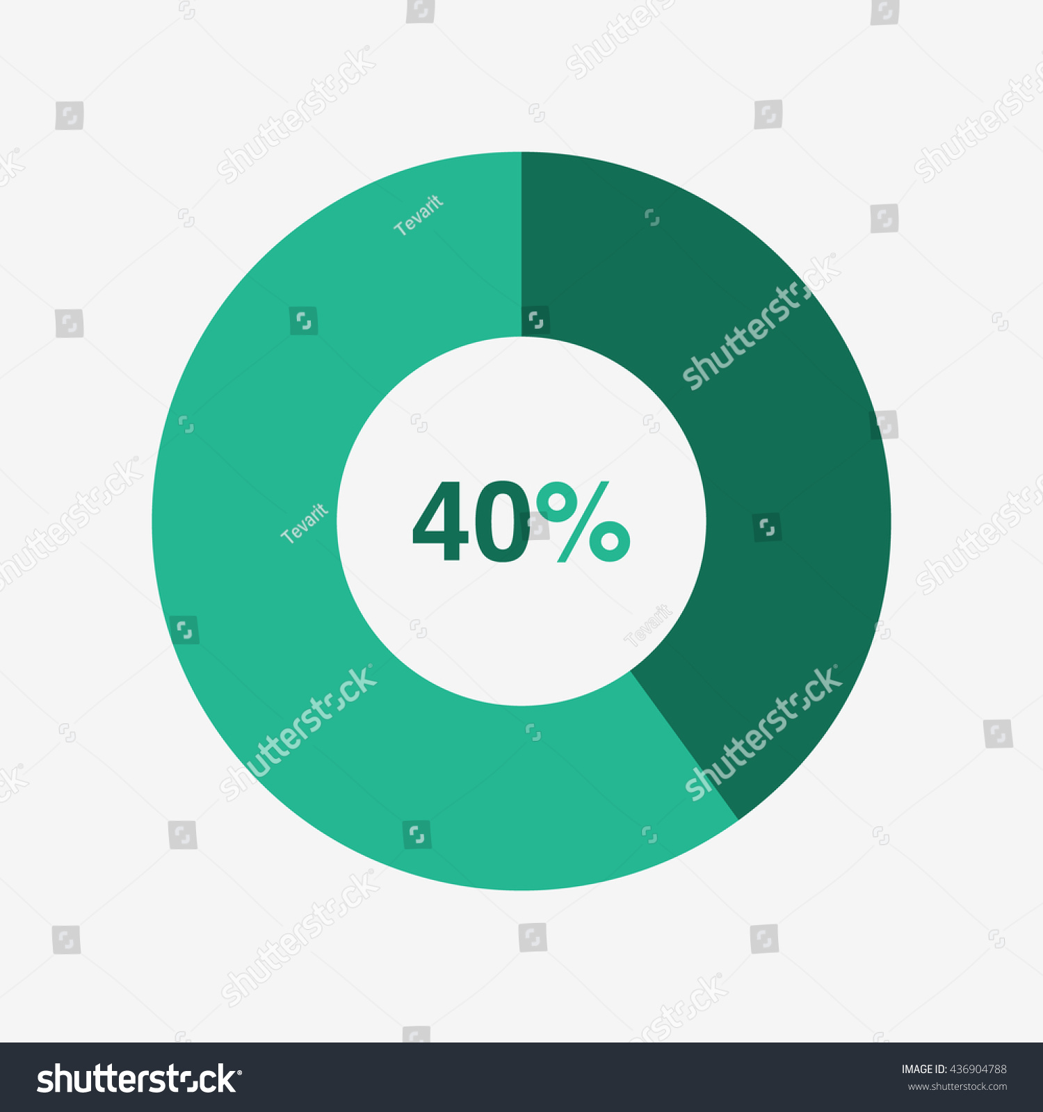 Icon Pie Green Light Green Chart Stock Vector Royalty Free