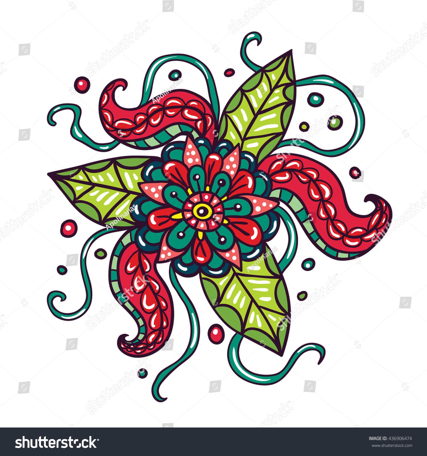 Fictional Flowers Tentacles Illustration On White Stock Photo (Photo ...