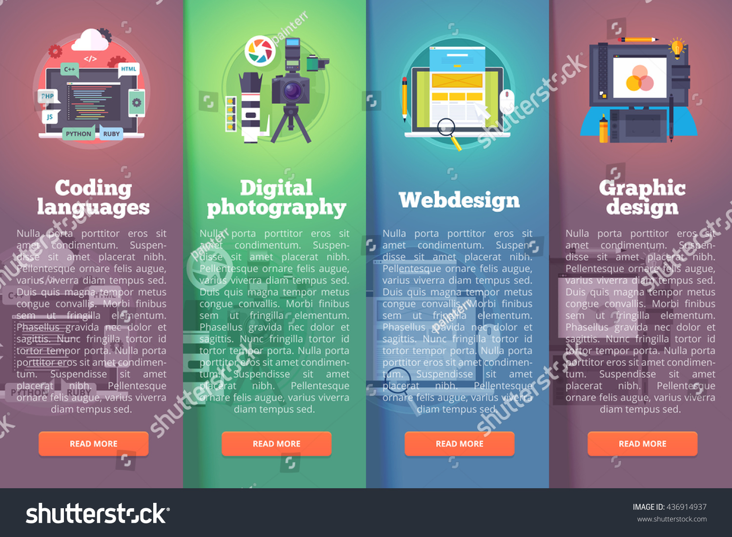 Information Technology Banners Set Digital Photography ...