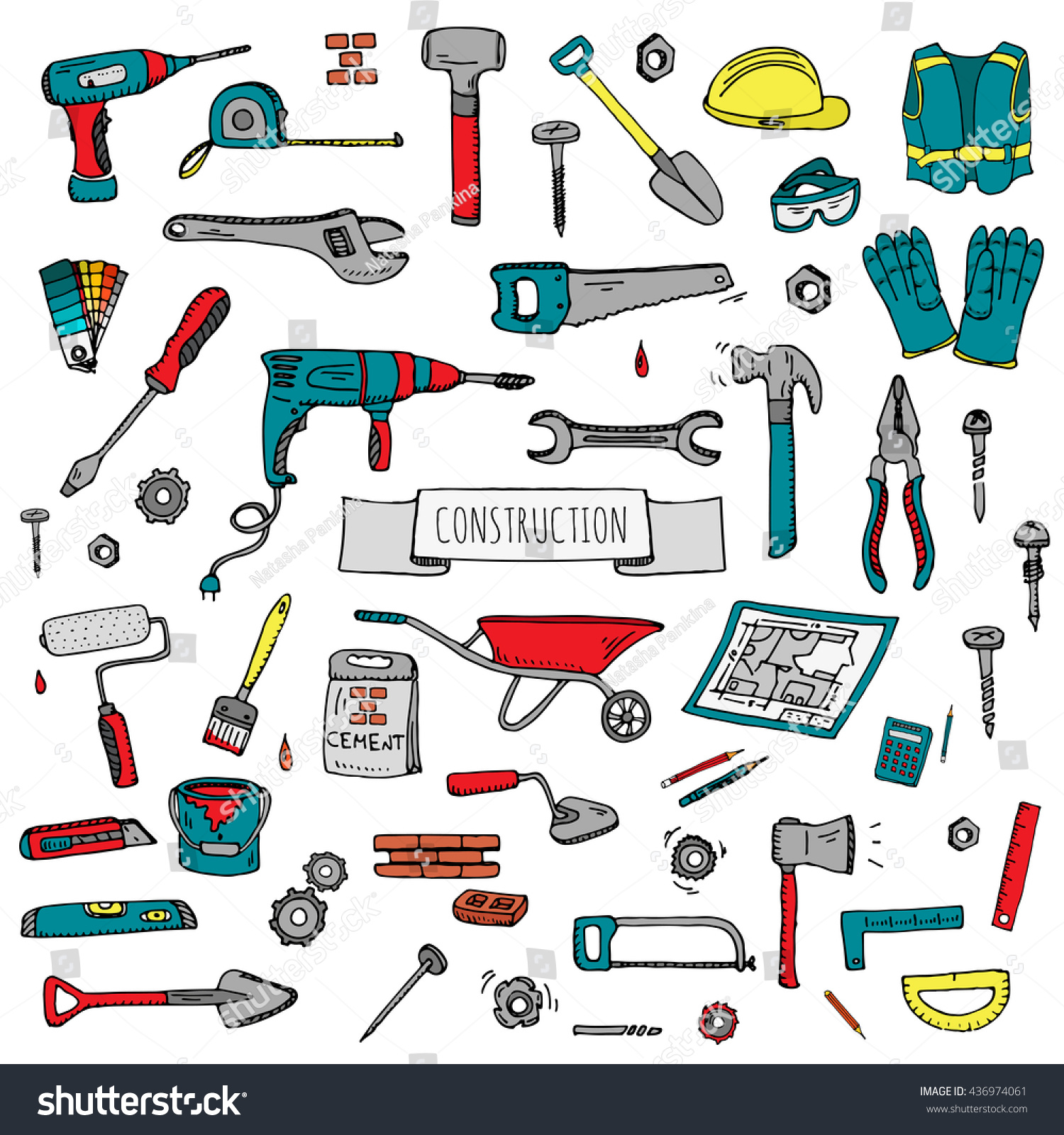 Hand Drawn Doodle Construction Tools Set. Vector Illustration Building  Icons House Repair Concept Collection Modern