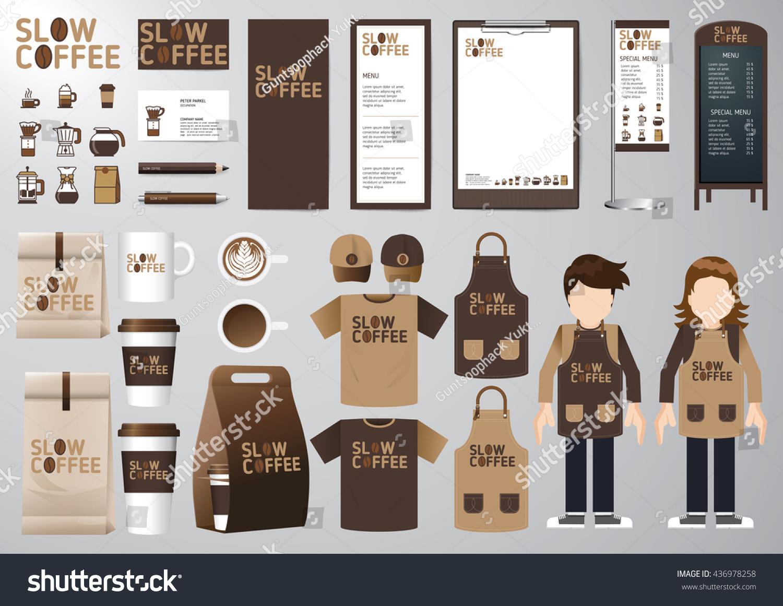 Corporate Branding Identity Mock Template Coffee Stock Vector