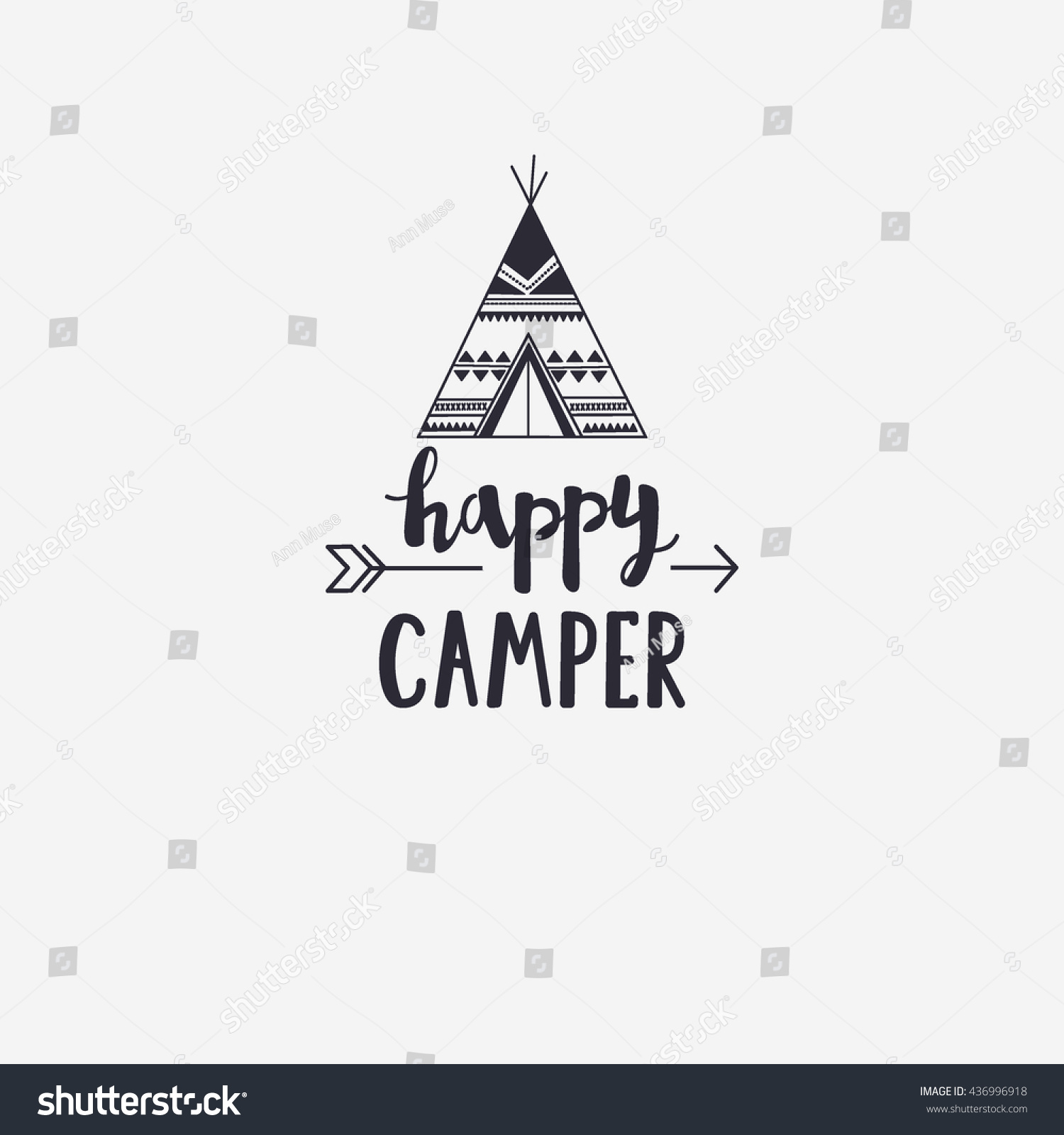 Vector Illustration Happy CAMPER Lettering With Teepee And Arrow Outdoor Logo Emblem
