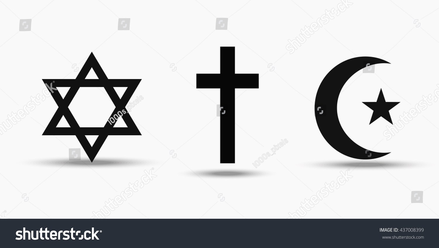 Symbols Three World Religions Judaism Christianity Stock Vector