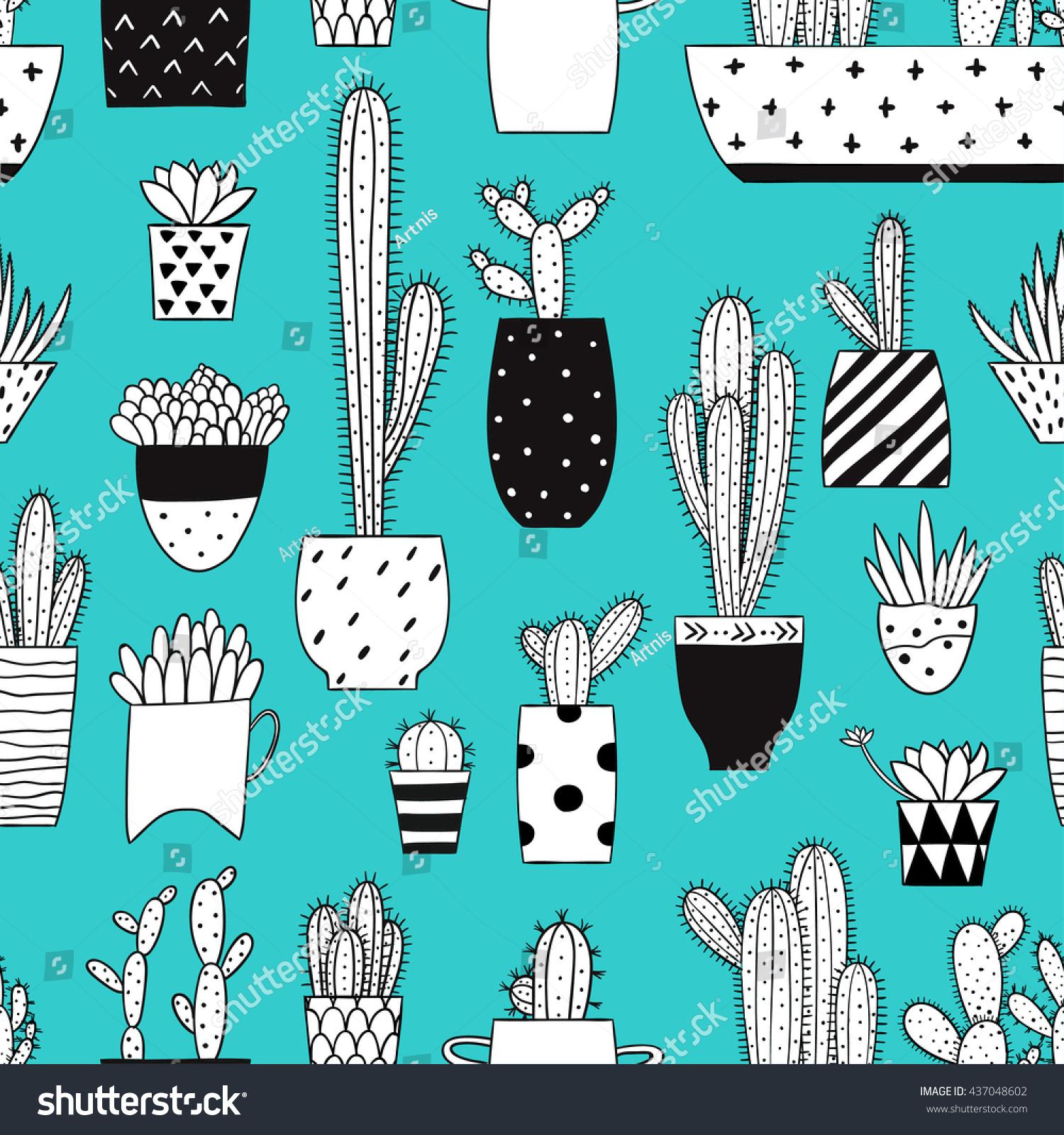 Seamless Pattern Hand Drawn Cacti Succulents Stock Vector Auto Epc Novyc Leds Wiring Diagram Black White Cactus