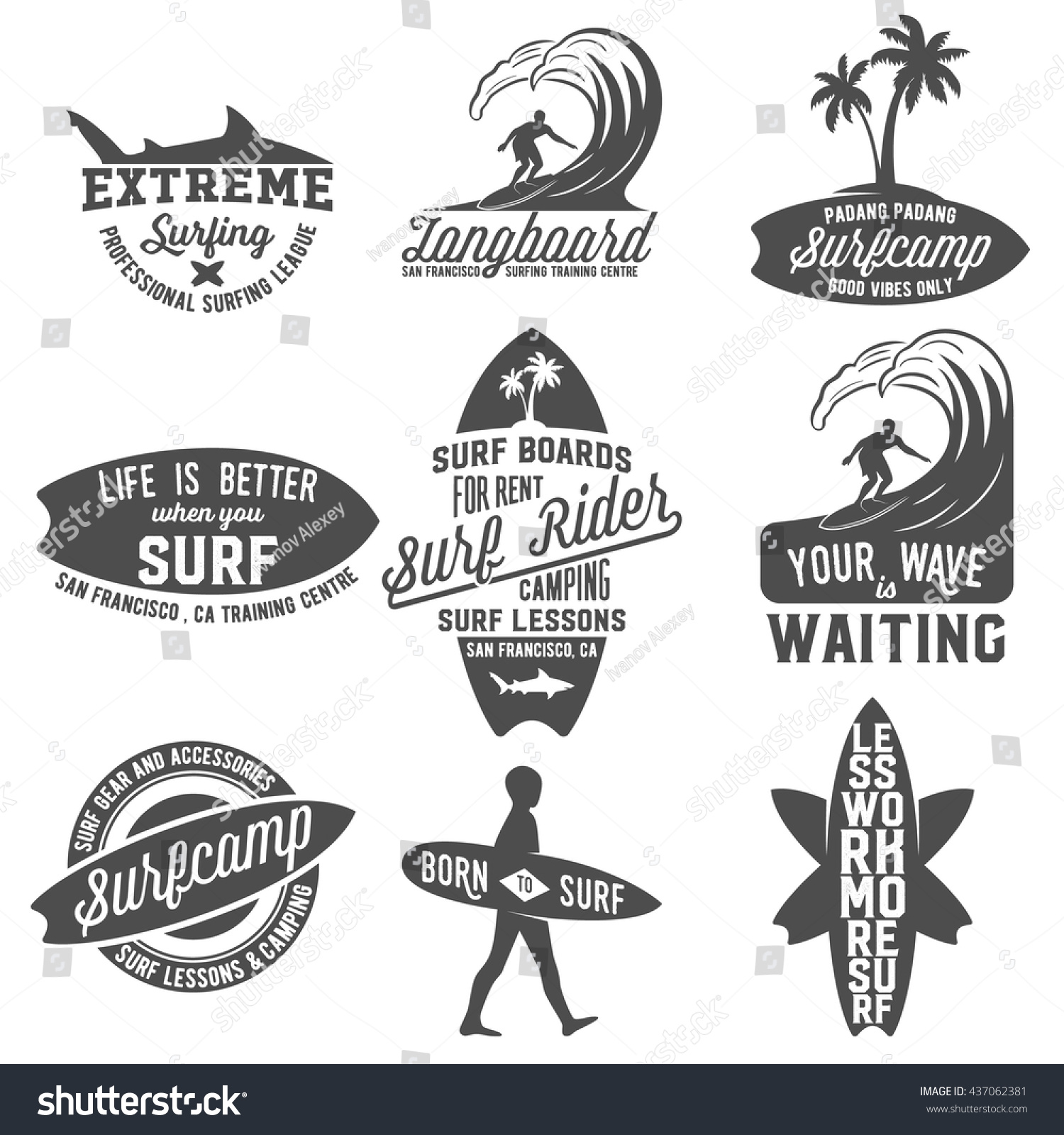 Set Of Vintage Surfing Logotypes, Badges, Quotes And ...