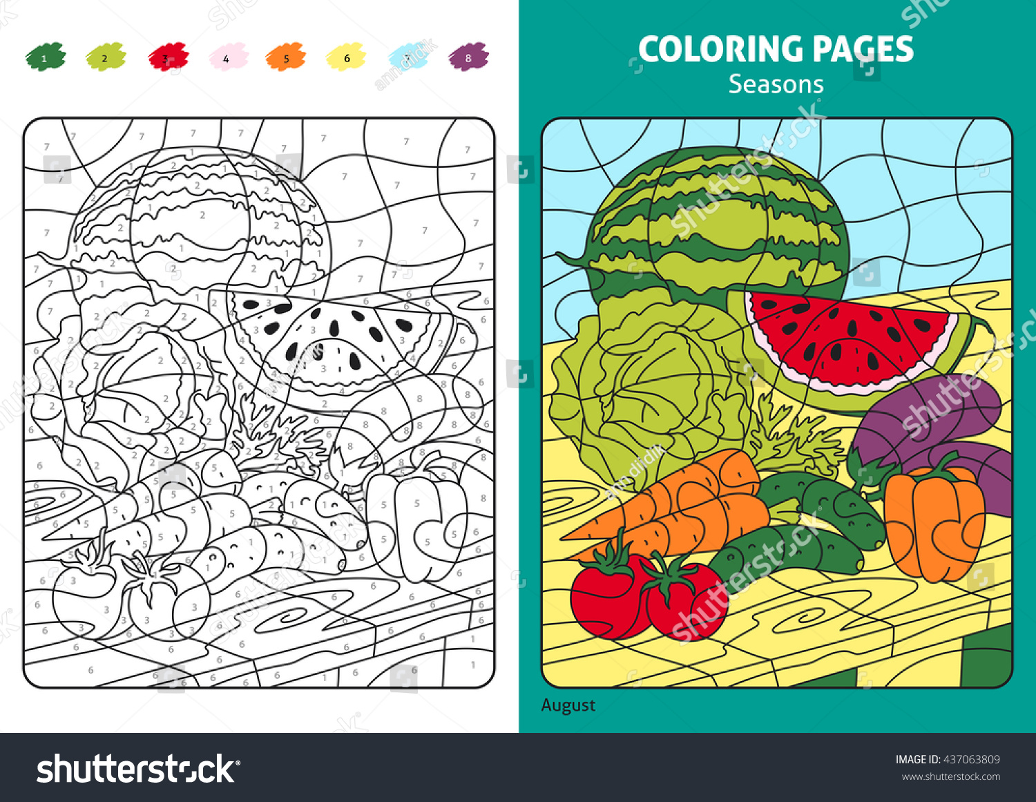 Seasons Coloring Page Kids August Month Stock Vector (Royalty Free ...