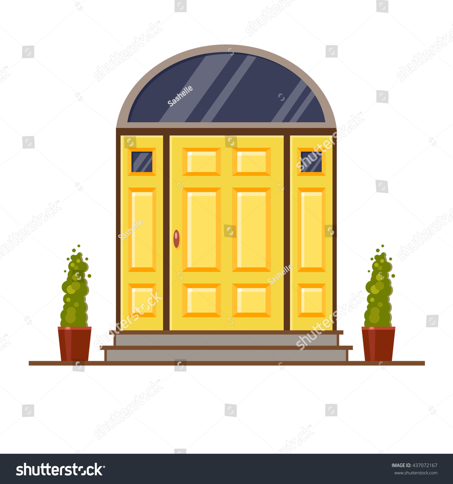 Yellow Modern Front Door Two Pots Stock Vector Royalty Free