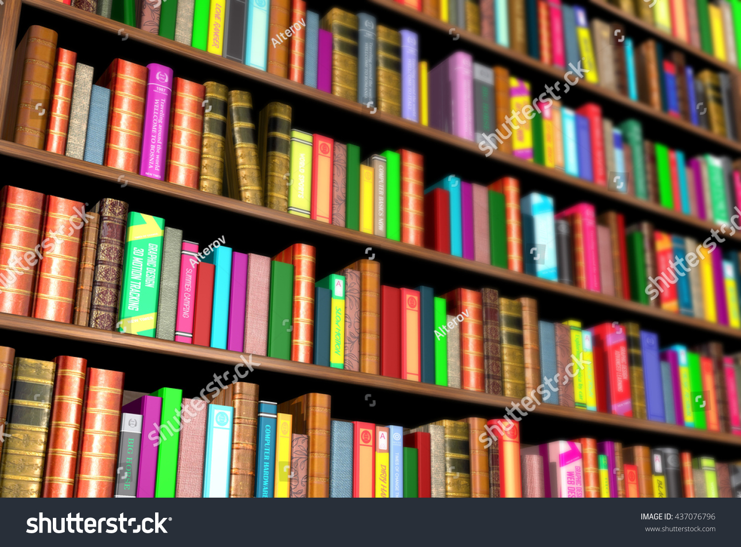 3d render of bookcase full of different